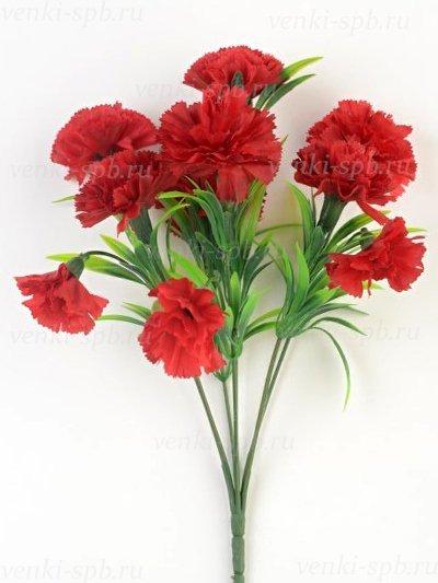 Искусственные цветы Букет гвоздики Барбрук — красный - Фото 1   Компания «Венок»