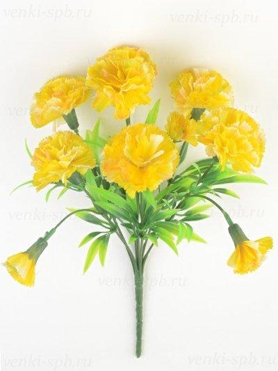 Искусственные цветы Букет гвоздики Барбрук — желтый - Фото 1 | Компания «Венок»