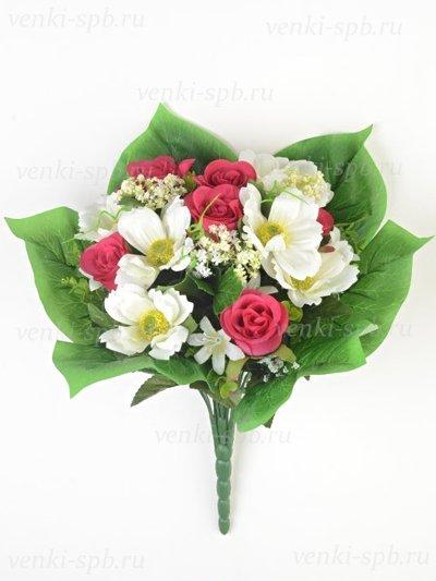Букет Нарборо (роза + космея) малиновый - Фото 1 | Компания «Венок»