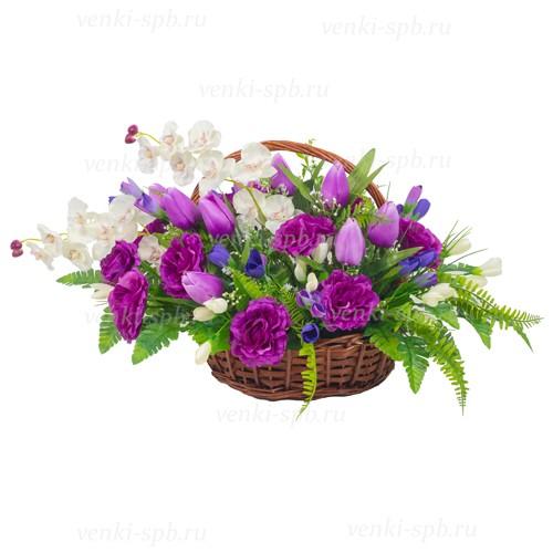 Ритуальная корзина С орхидеей - Фото 2 | Компания «Венок»