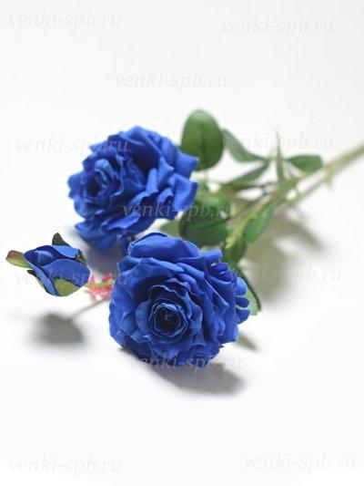 Искусственные цветы Ветка розы Виллаго — синяя - Фото 1 | Компания «Венок»