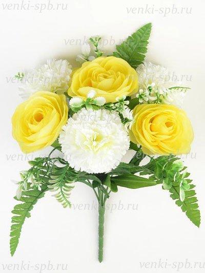 Искусственные цветы Букет камелии с гвоздикой Мамблс — желтый - Фото 1 | Компания «Венок»