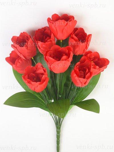 Искусственные цветы Букет тюльпанов Бэслоу — красный - Фото 1   Компания «Венок»