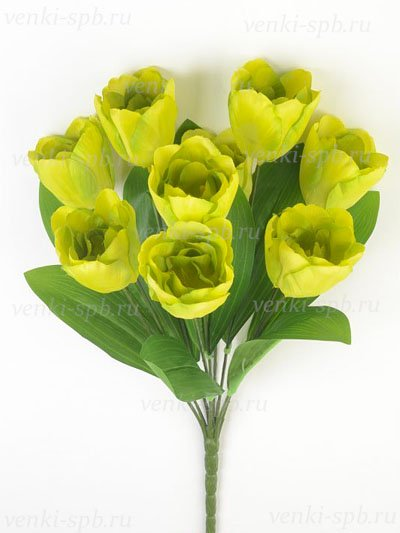 Искусственные цветы Букет тюльпанов Бэслоу — зеленые - Фото 1 | Компания «Венок»