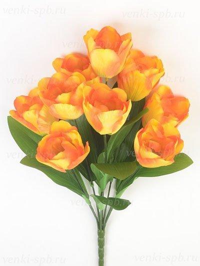 Искусственные цветы Букет тюльпанов Бэслоу — оранжевый - Фото 1 | Компания «Венок»