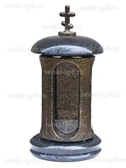 Черная гранитная лампада с металлическим корпусом в спб №4