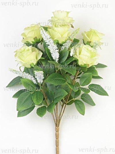 Искусственные цветы Букет бутонов роз Турифф — светло-лимонный - Фото 1 | Компания «Венок»
