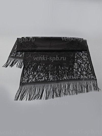 Шарф с узором и бахромой ритуальный — черный - Фото 1 | Компания «Венок»