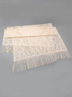 Платок для умершей бежевый кружевной с бахромой