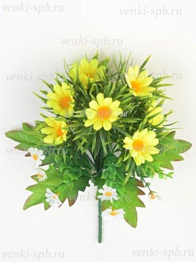 Искусственные цветы Букет ромашек Лузиана — желтый - Фото 1   Компания «Венок»
