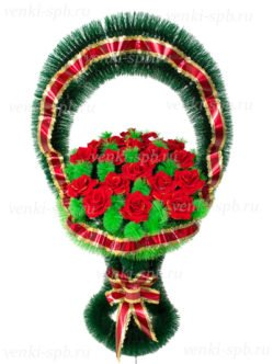 Корзина траурная Медуница с бархатными розами спб