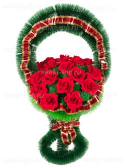 Корзина на похороны из красных роз Медуница с бархатом