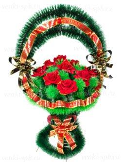 Корзина траурная Медуница малая с бархатными розами спб
