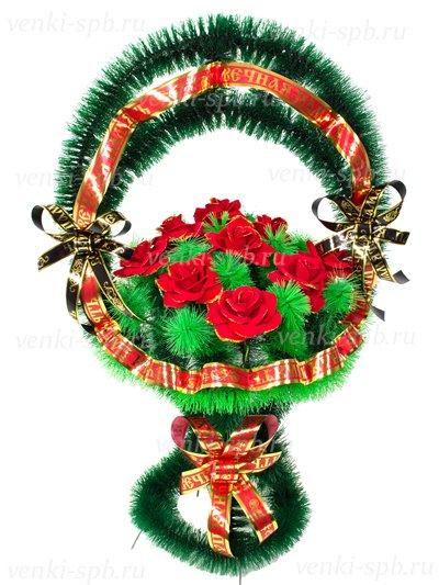 Корзина Медуница Малая с бархатными розами - Фото 1 | Компания «Венок»