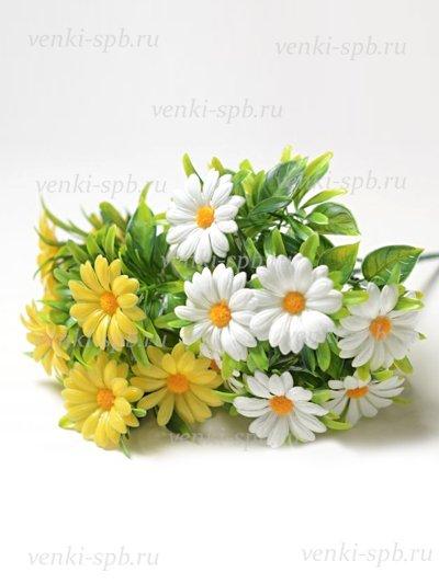 Искусственные цветы Букет ромашек Райтон пластиковый — белая - Фото 2 | Компания «Венок»