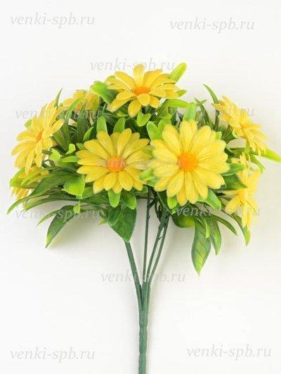 Искусственные цветы Букет ромашек Райтон пластиковый — желтая - Фото 1 | Компания «Венок»