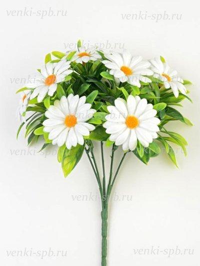 Искусственные цветы Букет ромашек Райтон пластиковый — белая - Фото 1 | Компания «Венок»