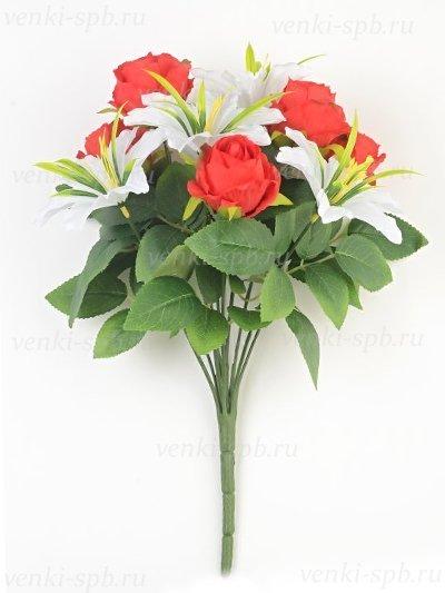 Искусственные цветы Букет роз и лилий Сванаг — красный - Фото 2 | Компания «Венок»