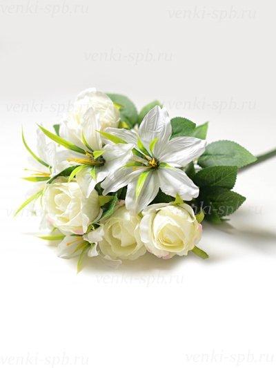 Букет роз и лилий Сванаг — белый - Фото 1 | Компания «Венок»
