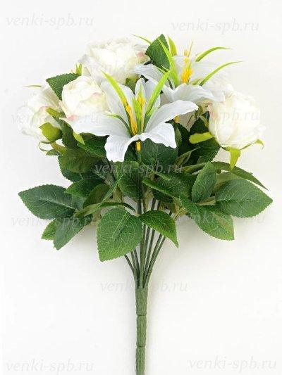 Букет роз и лилий Сванаг – белый - Фото 2 | Компания «Венок»