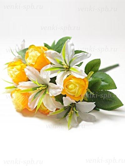 Искусственные цветы Букет роз и лилий Сванаг — желтый - Фото 2 | Компания «Венок»