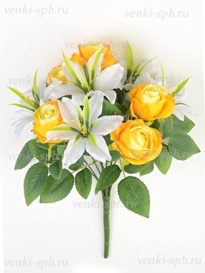 Искусственные цветы Букет роз и лилий Сванаг — желтый - Фото 1 | Компания «Венок»