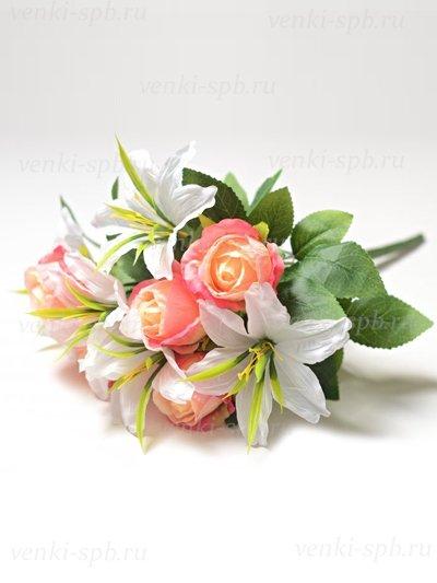 Букет роз и лилий Сванаг — розовый - Фото 1 | Компания «Венок»