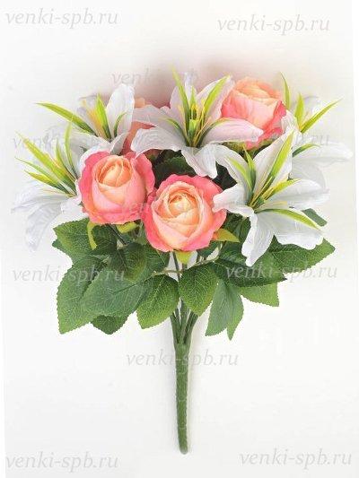 Букет роз и лилий Сванаг — розовый - Фото 2 | Компания «Венок»