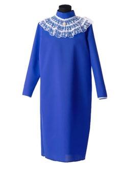 Платье для погребения в гроб с брошью синее