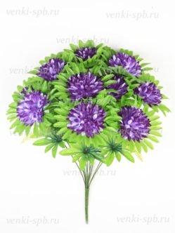 Большой букет искусственной хризантемы на похороны Яник черничный