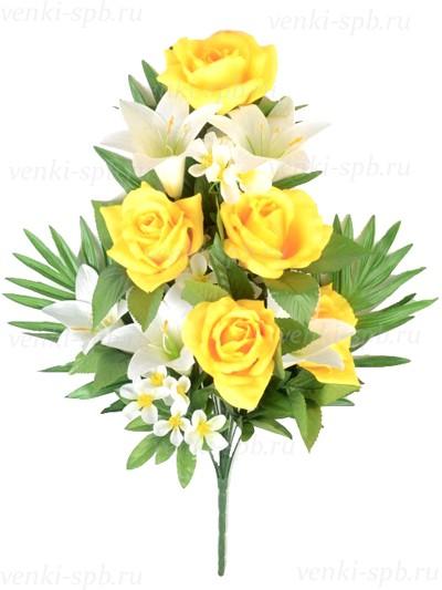 Искусственные цветы Букет розы с лилией Бури — желтый - Фото 1 | Компания «Венок»