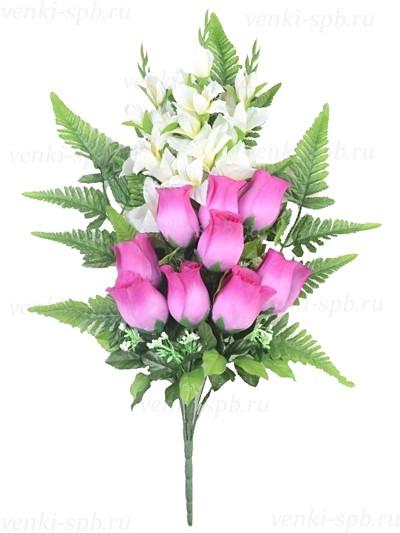 Букет бутонов роз с гладиолусами Ирвин - Фото 1 | Компания «Венок»