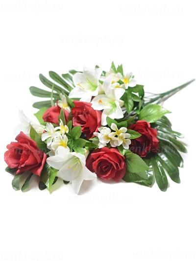 Искусственные цветы Букет розы с лилией Бури — бордо - Фото 2 | Компания «Венок»