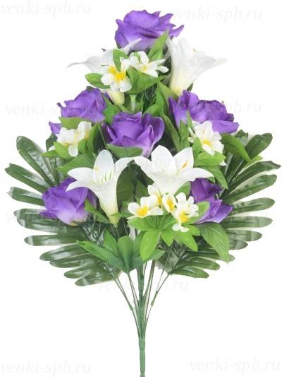 Букет розы с лилией Бури – сиреневый - Фото 1 | Компания «Венок»