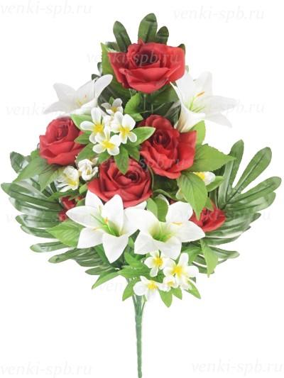 Искусственные цветы Букет розы с лилией Бури — бордо - Фото 1 | Компания «Венок»