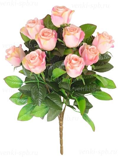 Искусственные цветы Букет бутонов роз ТРЕНТ- персиковый - Фото 1 | Компания «Венок»