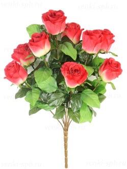 Высокий букет искусственных роз Трент бордовый комби