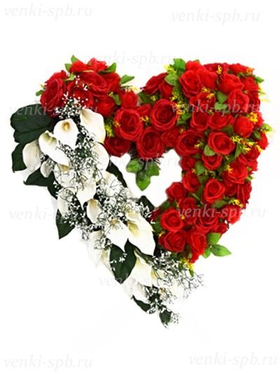 Ритуальный венок Любящее сердце №2 - Фото 1 | Компания «Венок»
