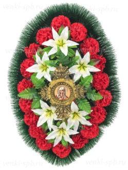 Ритуальный венок на похороны с ликом святого Оникс 3