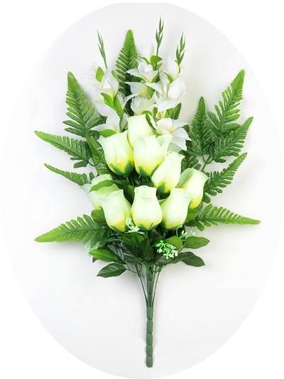 Букет бутонов роз с гладиолусами Ирвин белый - Фото 1 | Компания «Венок»