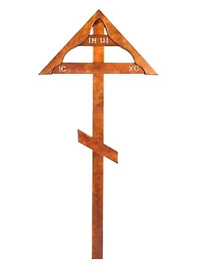 Крест сосновый КДС-08 с домиком — светлый - Фото 1 | Компания «Венок»