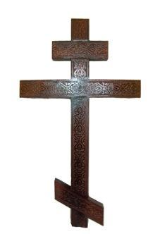 """Прямой сосновый крест с резьбой """"Вензель"""" купить на похороны в спб"""