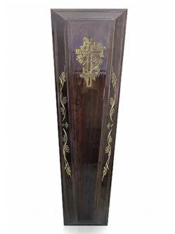 """Гроб полированный четырехгранный с православным узором """"Лоза"""" темный"""