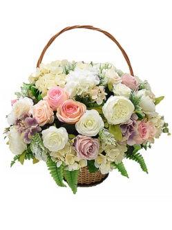 Корзина на похороны с нежными пионами, розами и гортензией на похороны в спб