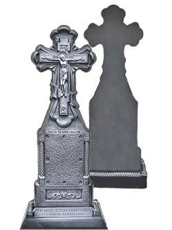 Односторонний крест-надгробия из литого камня с цветником и подставкой заказать на кладбище в Санкт-Петербурге (общее фото спереди и сзади)