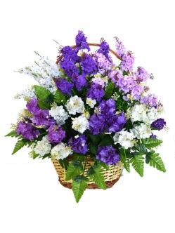 Корзина с искусственными цветами на кладбище купить в спб