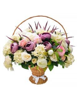 Траурная корзина с искусственными цветами Фрида на похороны в Санкт-Петербурге