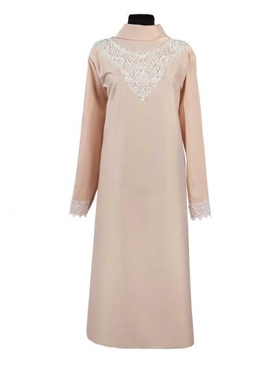 Платье женское люкс из плательной ткани с кружевом – персиковое - Фото 1 | Компания «Венок»