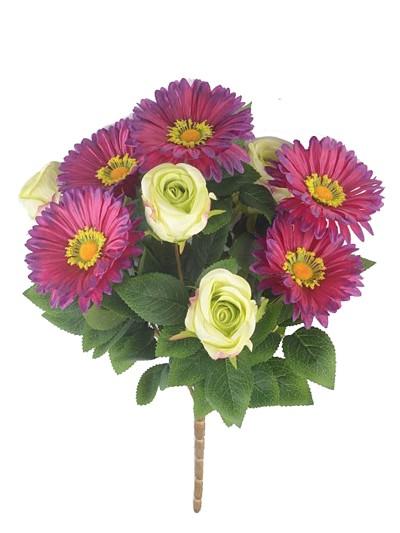 Букет роз с герберами - Фото 1   Компания «Венок»
