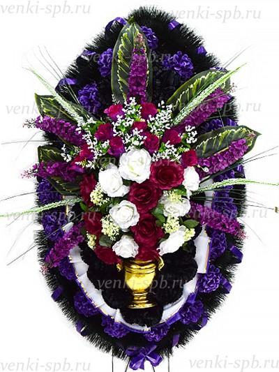 Ритуальный венок С вазой и букетом - Фото 1 | Компания «Венок»